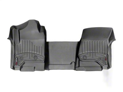 Weathertech DigitalFit Front & Rear Floor Liners - Over The Hump - Black (14-18 Silverado 1500 Double Cab w/ Vinyl Floors)