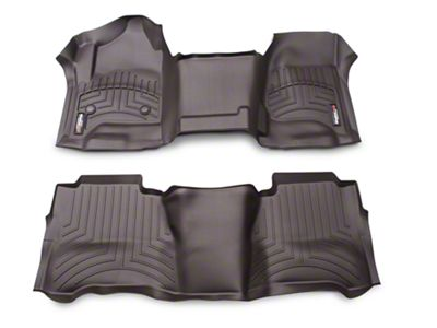 Weathertech DigitalFit Front & Rear Floor Liners - Over The Hump - Cocoa (14-18 Silverado 1500 Crew Cab)