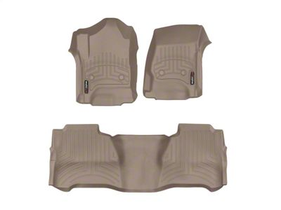 Weathertech DigitalFit Front & Rear Floor Liners - Tan (14-18 Silverado 1500 Crew Cab w/ Floor Mounted Shifter)