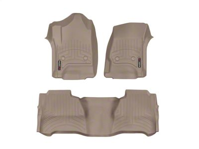 Weathertech DigitalFit Front & Rear Floor Liners - Tan (14-18 Silverado 1500 Crew Cab)