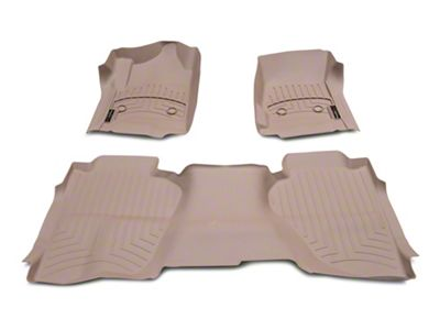 Weathertech DigitalFit Front & Rear Floor Liners - Tan (14-18 Silverado 1500 Double Cab w/o Floor Mounted Shifter)
