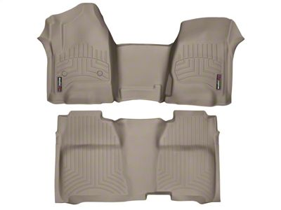 Weathertech DigitalFit Front & Rear Floor Liners w/ Underseat Coverage - Over The Hump - Tan (14-18 Silverado 1500 Crew Cab)