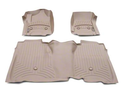 Weathertech DigitalFit Front & Rear Floor Liners w/ Underseat Coverage - Tan (14-18 Silverado 1500 Crew Cab)