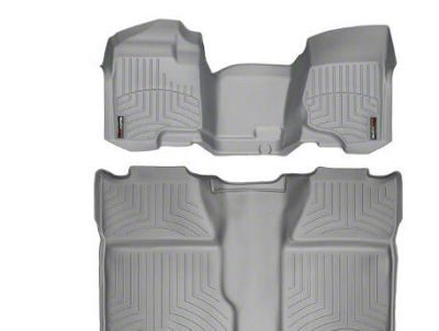 Weathertech DigitalFit Front & Rear Floor Liners - Over The Hump - Gray (07-13 Silverado 1500 Crew Cab)