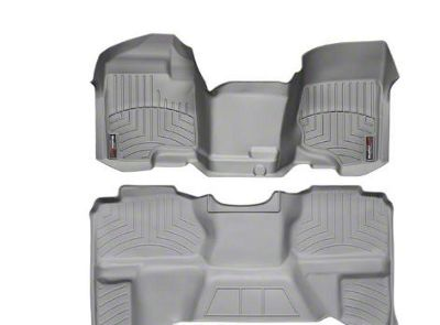 Weathertech DigitalFit Front & Rear Floor Liners - Over The Hump - Gray (07-13 Silverado 1500 Extended Cab)
