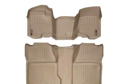 Weathertech DigitalFit Front & Rear Floor Liners - Over The Hump - Tan (07-13 Silverado 1500 Crew Cab)