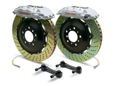 Brembo GT Series 4-Piston Rear Brake Kit - 2-Piece Cross Drilled Rotors - Silver (14-18 Sierra 1500)