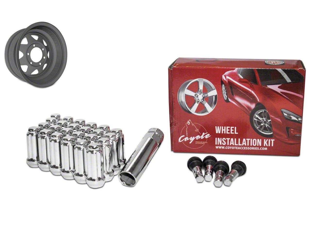 Coyote Chrome 6 Spline Lug Nut Kit - 14mm x 1.50 in. (07-18 Sierra 1500)