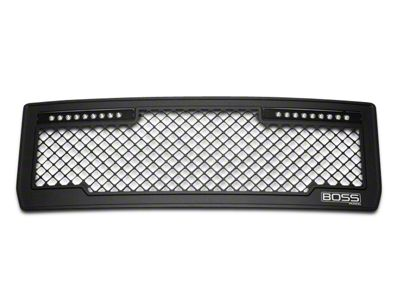 Putco Boss Mesh Upper Grille Insert w/ Two 10 in. LED Light Bars - Black (14-15 Sierra 1500)