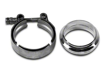 GMS 2.5 in. Mating Flat Flange w/ V-Band Exhaust Clamp - Mild Steel (07-19 Sierra 1500)