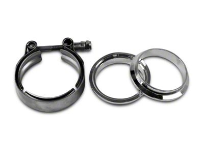 GMS 3 in. Mating Male to Female Interlocking Flange w/ V-Band Exhaust Clamp - Mild Steel (07-18 Sierra 1500)