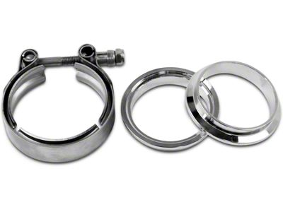 GMS 2.5 in. Mating Male to Female Interlocking Flange w/ V-Band Exhaust Clamp - Mild Steel (07-19 Sierra 1500)
