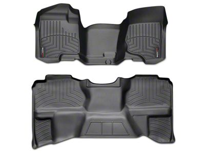Weathertech DigitalFit Front Over the Hump & Rear Floor Liners - Black (07-13 Sierra 1500 Extended Cab, Crew Cab, Excluding Hybrid)
