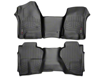 Weathertech DigitalFit Front & Rear Floor Liners - Over the Hump - Black (14-18 Sierra 1500 Double Cab, Crew Cab)