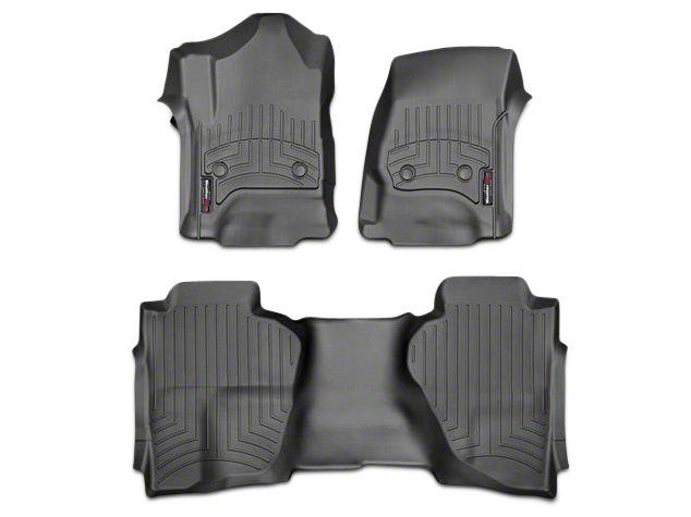 Weathertech DigitalFit Front & Rear Floor Liners - Black (14-18 Sierra 1500 Double Cab, Crew Cab)