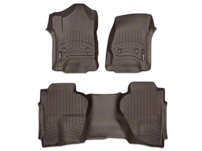 Weathertech DigitalFit Front & Rear Floor Liners - Cocoa (14-18 Sierra 1500 Double Cab, Crew Cab)