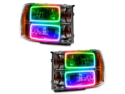 Chrome OE Style Headlights w/ ColorSHIFT Square Ring LED Halos (07-13 Sierra 1500)