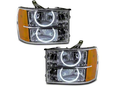 Oracle Chrome OE Style Headlights w/ Round Ring LED Halos (07-13 Sierra 1500)