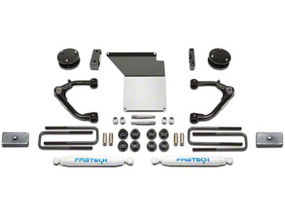 Fabtech 4 in. Uniball Upper Control Arm System w/ Shocks (14-18 2WD/4WD Sierra 1500 Double Cab, Crew Cab w/ Stock Cast Aluminum or Stamped Steel Control Arms, Excluding Denali)
