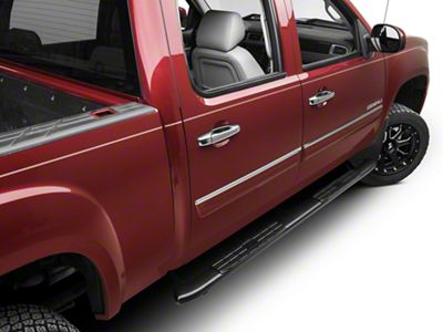 Barricade Pinnacle 4 in. Oval Bent Side Step Bars - Black - Body Mount (07-13 Sierra 1500 Extended Cab, Crew Cab)