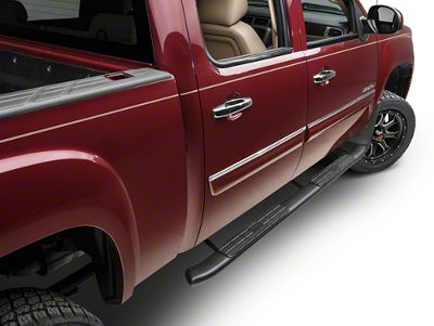 Barricade Pinnacle 4 in. Oval Bent End Rocker Mount Side Step Bars - Black (07-13 Sierra 1500 Extended Cab, Crew Cab)