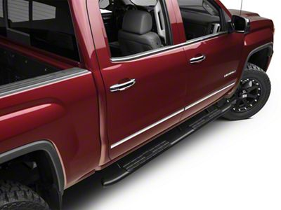 Barricade Pinnacle 4 in. Oval Bent End Rocker Mount Side Step Bars - Black (14-18 Sierra 1500 Double Cab, Crew Cab)