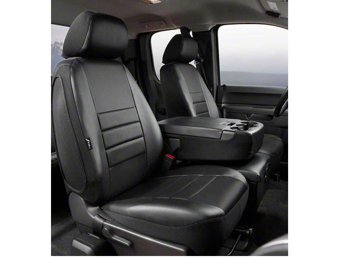 Fia Custom Fit Leatherlite Front Seat Covers - Black (07-13 Sierra 1500 w/ Bench Seat)