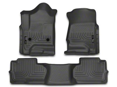 Husky WeatherBeater Front & 2nd Seat Floor Liners - Footwell Coverage - Black (14-18 Sierra 1500 Double Cab, Crew Cab)