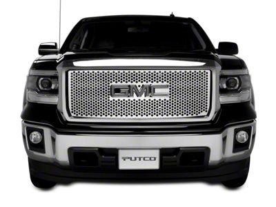 Putco Punch Stainless Steel Upper Overlay Grille w/ Logo Cutout (14-15 Sierra 1500 w/ All-Terrain Package)