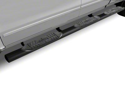 Raptor Series 5 in. Oval Wheel to Wheel Rocker Mount Side Step Bars - Black (14-18 Sierra 1500 Double Cab, Crew Cab)