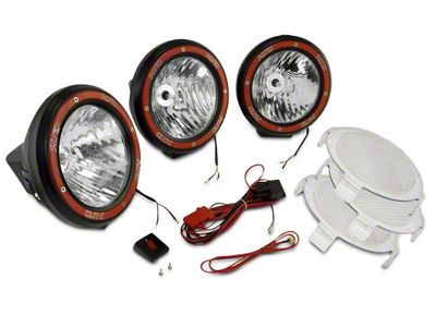 Rugged Ridge 5 in. Round HID Off-Road Fog Lights w/ Black Composite Housings - Set of Three (07-19 Sierra 1500)