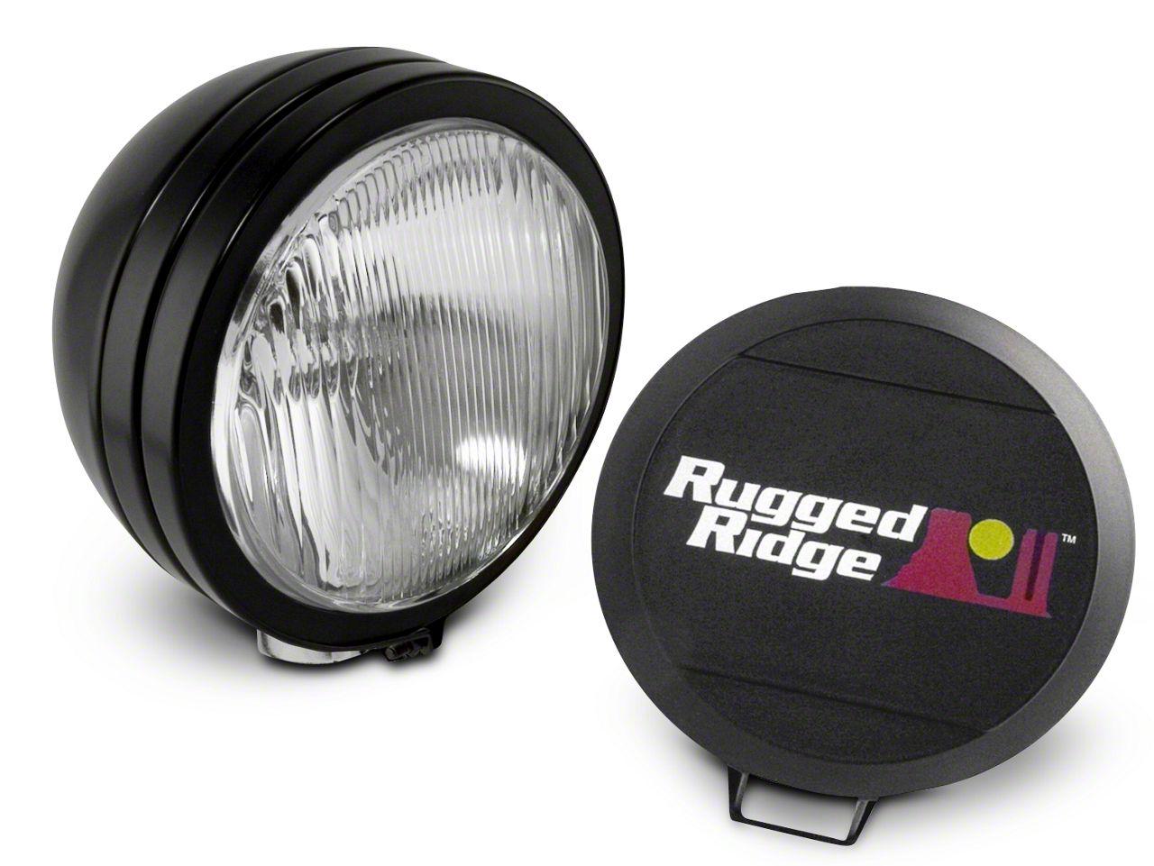 Rugged Ridge 5 in. Round HID Off-Road Fog Light w/ Black Steel Housing - Single (07-18 Sierra 1500)