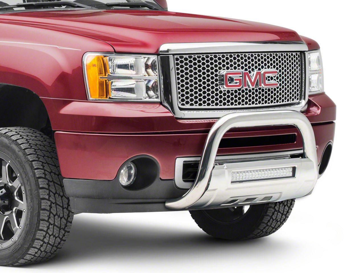 Barricade HD Bull Bar w/ Skid Plate & 20 in. LED Dual-Row LED Light Bar - Polished SS (07-18 Sierra 1500)