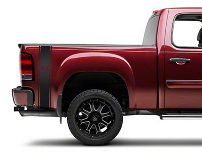 Matte Black Rear Vertical Stripe w/ 4x4 Logo (07-19 Sierra 1500)