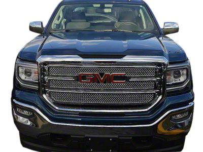 Black Horse Off Road Mesh Upper Overlay Grilles - Chrome (16-18 Sierra 1500 Base, SLE)
