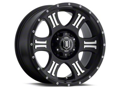 ICON Vehicle Dynamics Shield Satin Black Machined 6-Lug Wheel - 17x8.5 (07-18 Sierra 1500)
