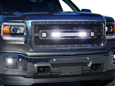 Rigid Industries D-Series & E-Series LED Upper Replacement Grille - Black (14-15 Sierra 1500)