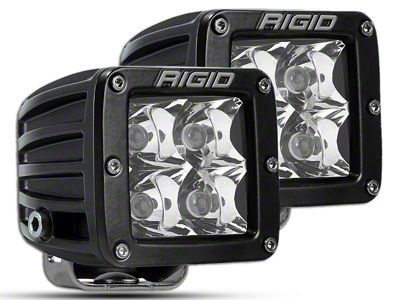 Rigid Industries D-Series Flush Mount Amber LED Cube Lights - Spot Beam - Pair