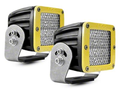 Rigid Industries D-Series HD LED Cube Lights w/ Yellow Surround - 60 Deg. Diffused Beam - Pair