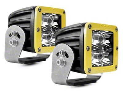 Rigid Industries D-Series HD LED Cube Lights w/ Yellow Surround - Spot Beam - Pair