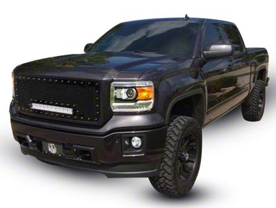 Royalty Core RC1X Incredible Upper Replacement Grille w/ 19 in. LED Light Bar - Black (14-15 Sierra 1500)