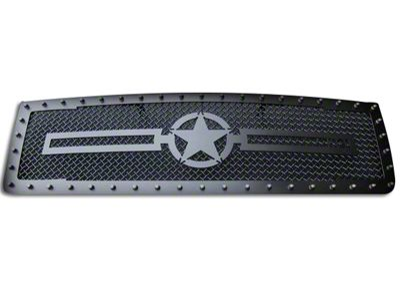 Royalty Core RC1 Upper Replacement Grille w/ War Star Emblem - Satin Black (07-13 Sierra 1500)