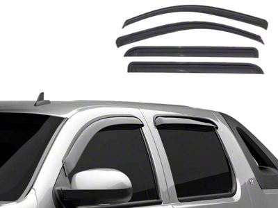 Black Horse Off Road In-Channel Smoke Rain Guards - Front & Rear (14-18 Sierra 1500 Crew Cab)