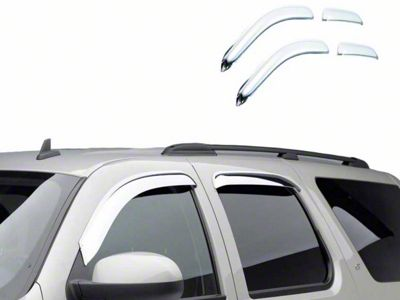 Black Horse Off Road Tape-On Chrome Rain Guards - Front & Rear (14-18 Sierra 1500 Crew Cab)