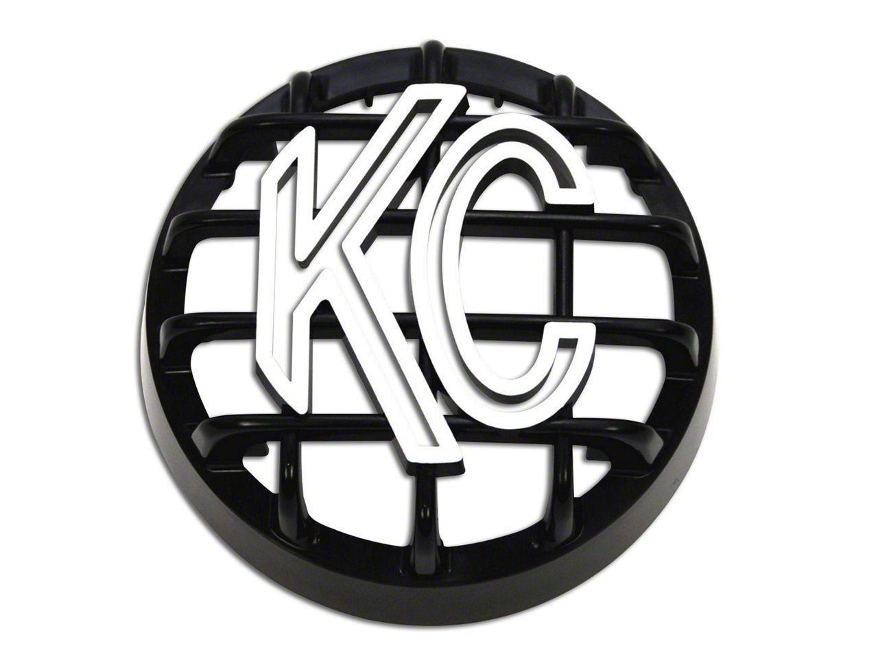 KC HiLiTES 4 in. Round Stone Guard for Rally 400 - Black w/ White KC Logo (07-19 Sierra 1500)