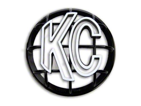 KC HiLiTES 5 in. Round Stone Guard for Apollo Series - Black w/ White KC Logo (07-19 Sierra 1500)