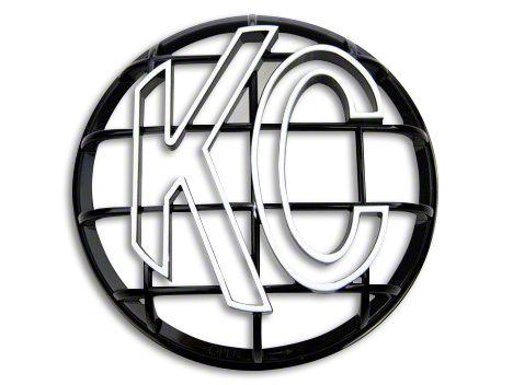 KC HiLiTES 6 in. Round Stone Guard for Apollo Series - Black w/ White KC Logo (07-18 Sierra 1500)