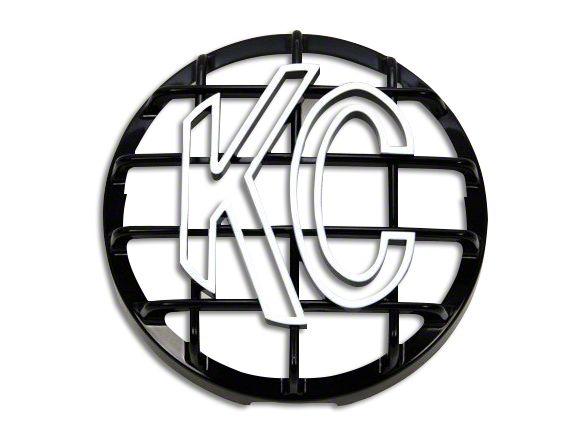 KC HiLiTES 6 in. Round Stone Guard for Daylighter & Slimlite - Black w/ White KC Logo (07-18 Sierra 1500)