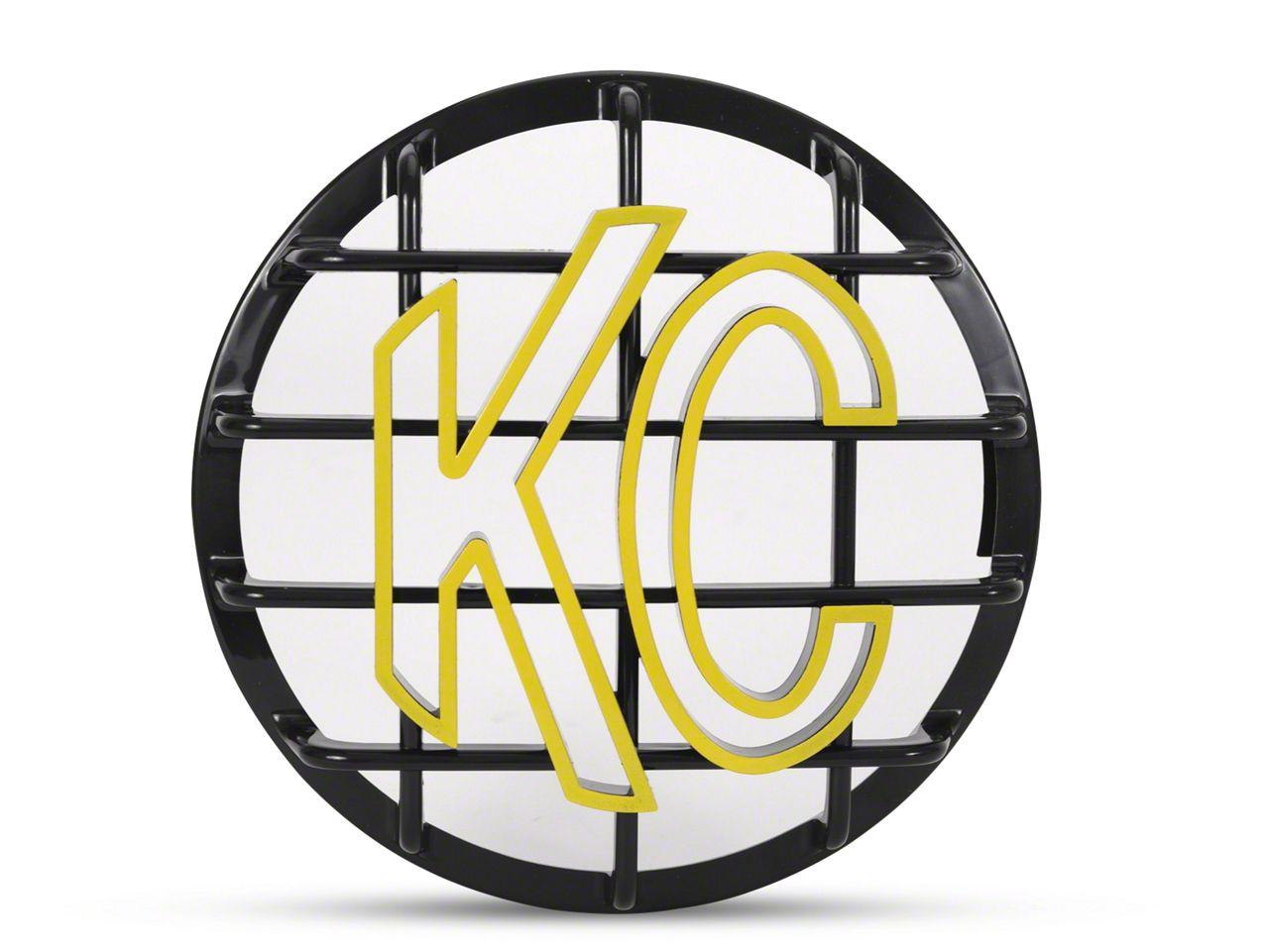 KC HiLiTES 6 in. Round Stone Guard for Daylighter & Slimlite - Black w/ Yellow KC Logo (07-18 Sierra 1500)