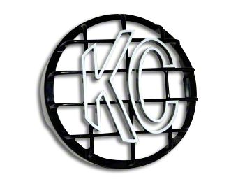 KC HiLiTES 8 in. Round Stone Guard for Rally 800 & Pro Sport - Black w/ White KC Logo (07-19 Sierra 1500)